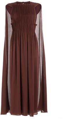 Valentino Midi-Length Pleated Silk Dress with Cape
