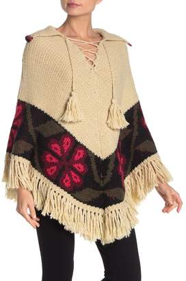 Trina Turk Kyan Lace-Up Fringe Knit Poncho