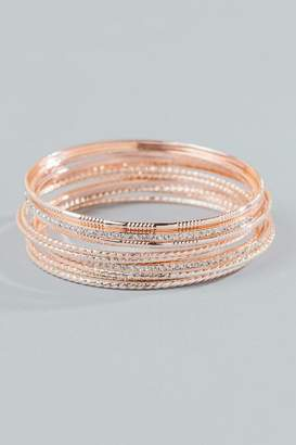 francesca's Elsie Pave Bangle Set - Rose/Gold