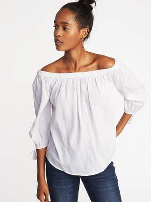 Old Navy Off-the-Shoulder Embroidered Tassel-Cuff Top for Women