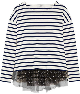 J.Crew - Polka-dot Tulle-trimmed Striped Jersey Top - Cream $100 thestylecure.com