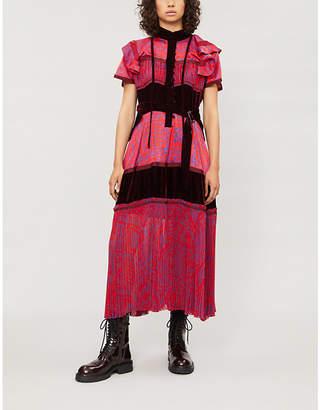 Sacai Ruffled velvet and chiffon midi dress