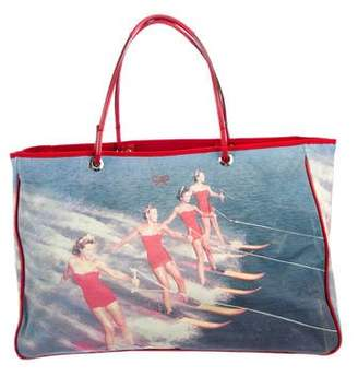 Anya Hindmarch Printed Leather-Trimmed Tote