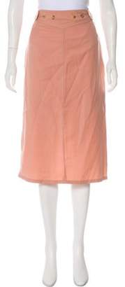 Dries Van Noten Wool Knee-Length Skirt Pink Wool Knee-Length Skirt