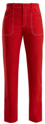 Chloé Contrast Stitch Straight Leg Trousers - Womens - Red