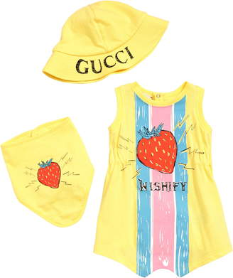 Gucci Romper, Bandana Bib & Bucket Hat Gift Set