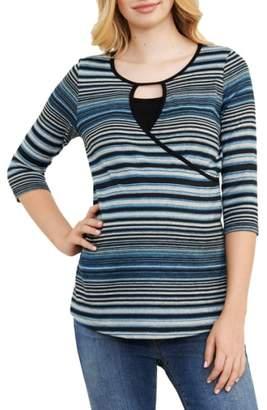 Maternal America Stripe Crossover Maternity/Nursing Top