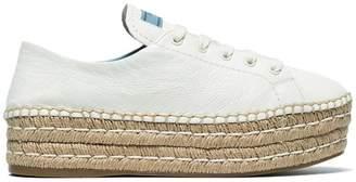 Prada White 40 Leather flatform espadrilles