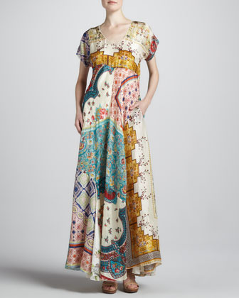 Johnny Was Collection Long Patchwork Dress, Women's