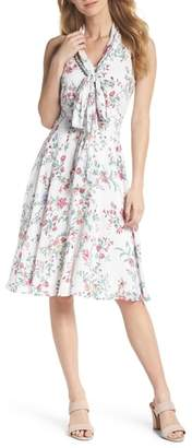 Gal Meets Glam Alexis Delicate Blossom Print Tie Neck Dress