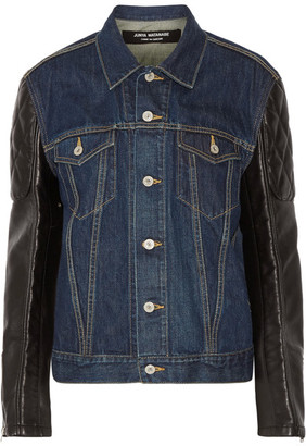 Junya Watanabe - Printed Denim And Faux Leather Jacket - Dark denim $1,195 thestylecure.com