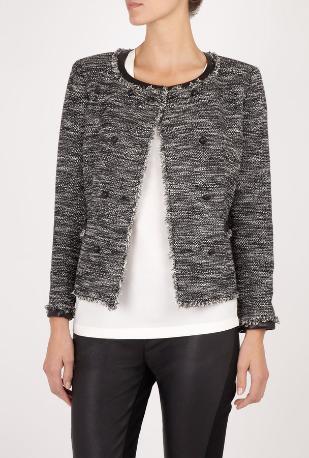 DKNY Lurex Tweed Bracelet Sleeve Jacket