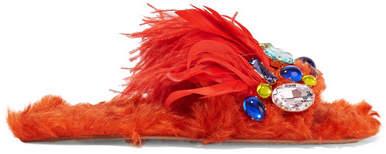 Miu Miu - Crystal-embellished Shearling And Feather Slides - Bright orange