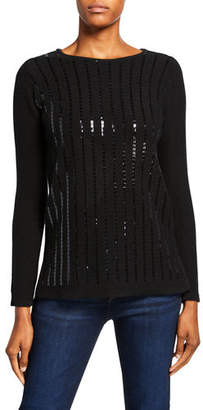 Neiman Marcus Sequin Stripe Boat-Neck Cashmere Sweater