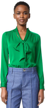 Milly Tie Neck Blouse $325 thestylecure.com