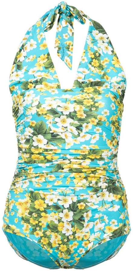 ruched floral halter swimsuit