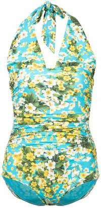 Dolce & Gabbana ruched floral halter swimsuit