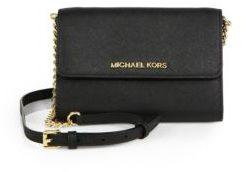 MICHAEL MICHAEL KORS Large Saffiano-Leather Phone Crossbody Bag $168 thestylecure.com