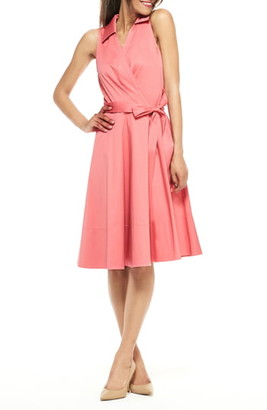 Gal Meets Glam Heather Sleeveless Stretch Cotton Wrap Shirtdress
