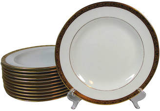 One Kings Lane Vintage Cauldon Embossed Gold Lunch Plates - Set of 12