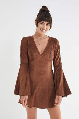 Urban Outfitters Linette Faux Suede Bell-Sleeve Dress