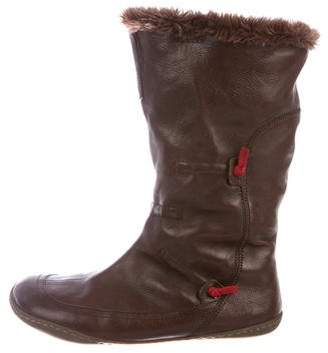 Camper Faux Fur-Trimmed Leather Booties
