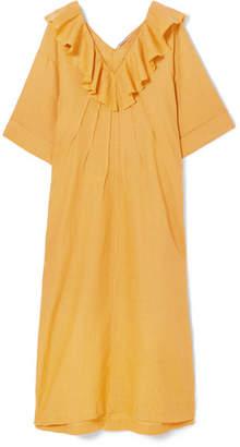 DAY Birger et Mikkelsen Three Graces London - Inez Oversized Ruffled Linen Maxi Dress - Saffron