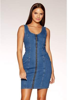 Quiz Blue Denim Zip Pinafore Dress