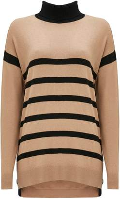 WallisWallis Camel Stripe Polo Neck Jumper