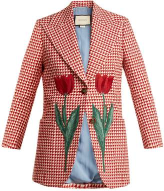Gucci Tulip-embroidered checked wool-blend jacket