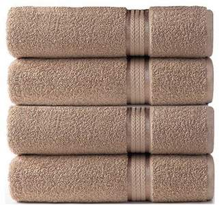 Ringspun Cotton Craft - 4 Pack - Ultra Soft Oversized Extra Large Bath Towels 30x54 Linen - 100% Pure Cotton - Luxurious Rayon Trim - Ideal for Daily Use - Each Towel Weighs 22 Ounces