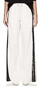 Alberta Ferretti Women's Sequin-Embellished Track Pants-White