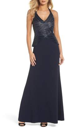 Adrianna Papell Beaded Halter Gown (Regular & Petite)