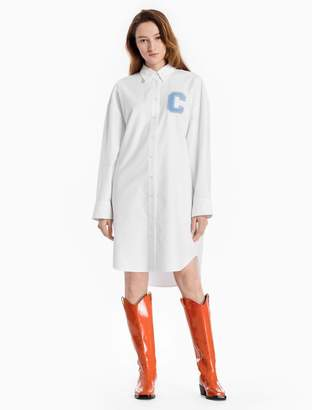 Calvin Klein oxford cotton c-badge shirt dress