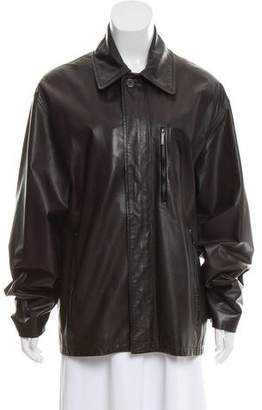 Louis Vuitton Leather Zip-Up Jacket