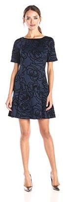 Juicy Couture Black Label Women's Flocked Rose Scuba Dress $118.31 thestylecure.com