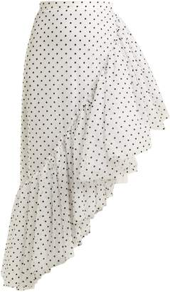 Asymmetric polka-dot ruffle skirt