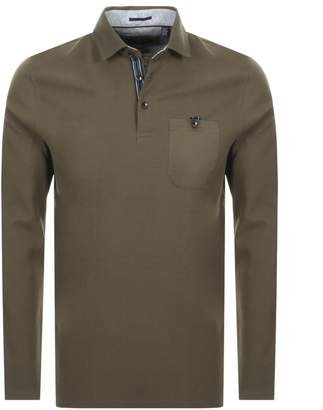 Ted Baker Leopard Polo T Shirt Khaki