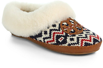 Tory Burch Coley Shearling-Lined Fair Isle Knit Slippers