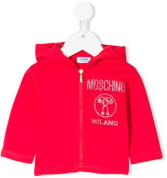 Moschino Kids crystal embellished logo hoodie