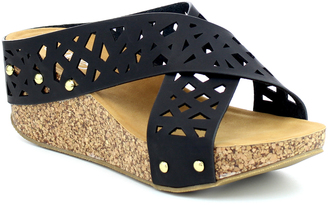 Black Crisscross Elva Wedge Sandal $45 thestylecure.com