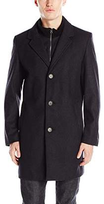 Tommy Hilfiger Men's Bruce 36 inch Single Breasted Wool Top Coat with Bib