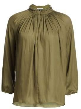 Halston Women's Pleated Detail V-Neck Blouse - Kelp - Size XS