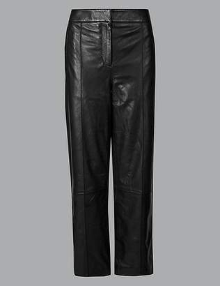 Marks and Spencer Leather Straight Leg Trousers