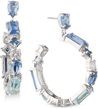 Carolee Silver-Tone Crystal Drop Hoop Earrings