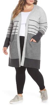 Lucky Brand Stripe Long Open Cardigan