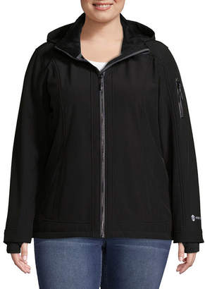 Free Country Woven Hooded Water Resistant Lightweight Softshell Jacket-Plus