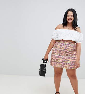 Glamorous Curve Mini Skirt In Geo-Tribal Jaquard