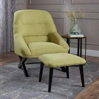 Noble House Susanne Mid Century Modern Design Chair & Ottoman Set, Bright Green