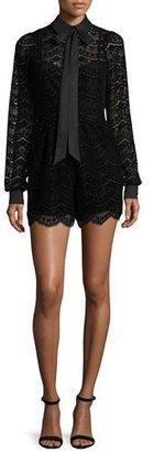 Parker Josephine Long-Sleeve Lace Romper, Black $250 thestylecure.com